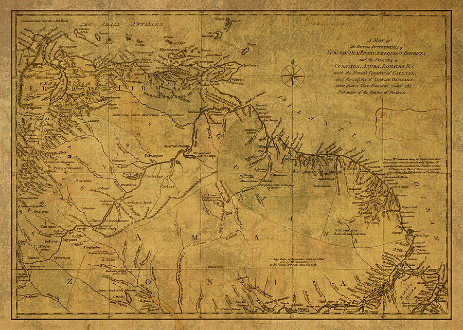 Vintage Map Of Dutch Guiana Aruba And Bonaire 1791 Mixed Media ... on