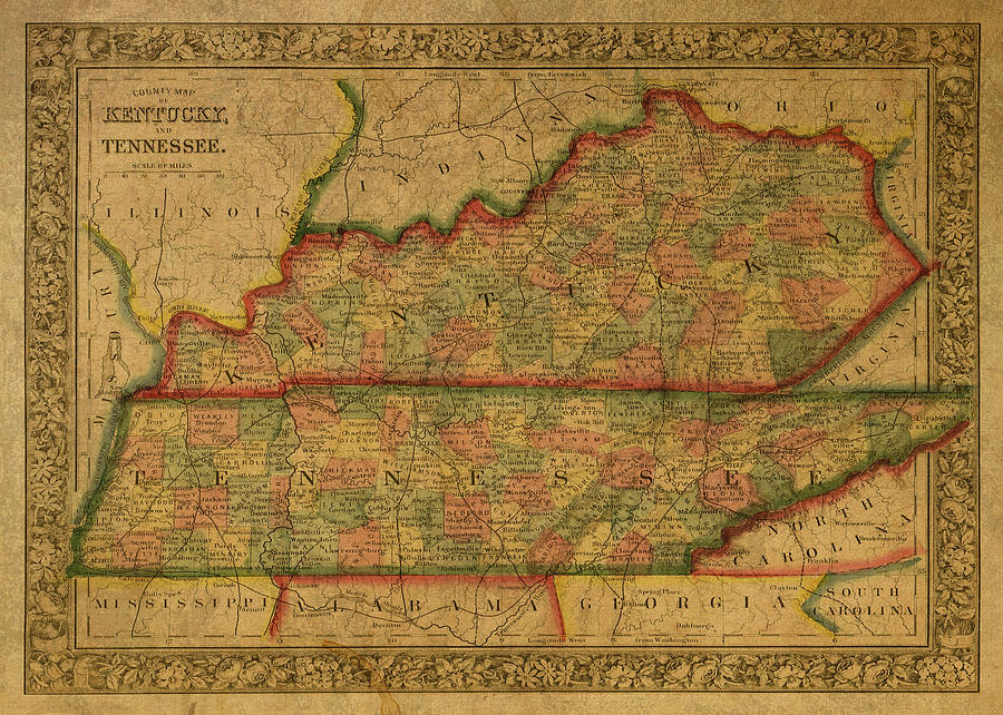 Vintage Map Of Kentucky And Tennessee Mixed Media By Design