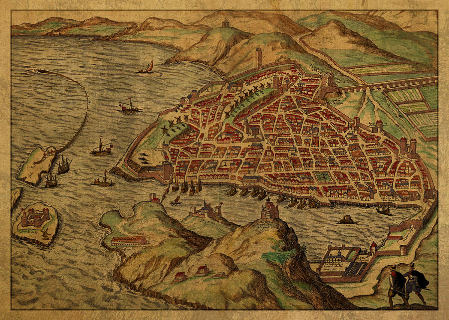 Map Of France 1600.Vintage Map Of Marseilles France 1600