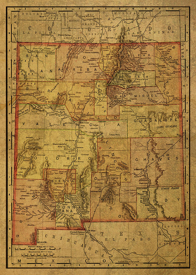 Vintage Map Of New Mexico 1886 Mixed Media By Design Turnpike
