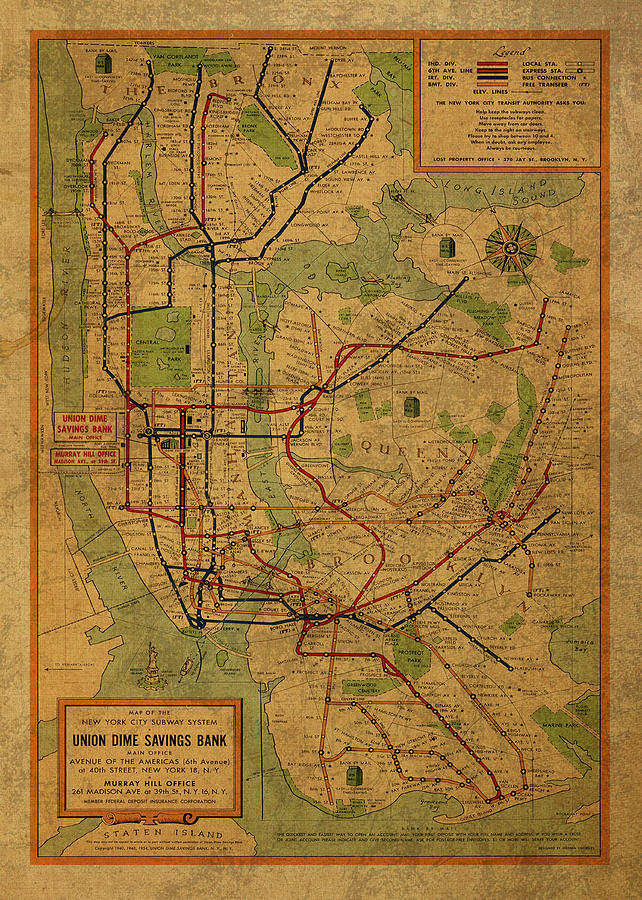 Map Of New York City Subway System.Vintage Map Of New York City Subway System 1954 Mixed Media By