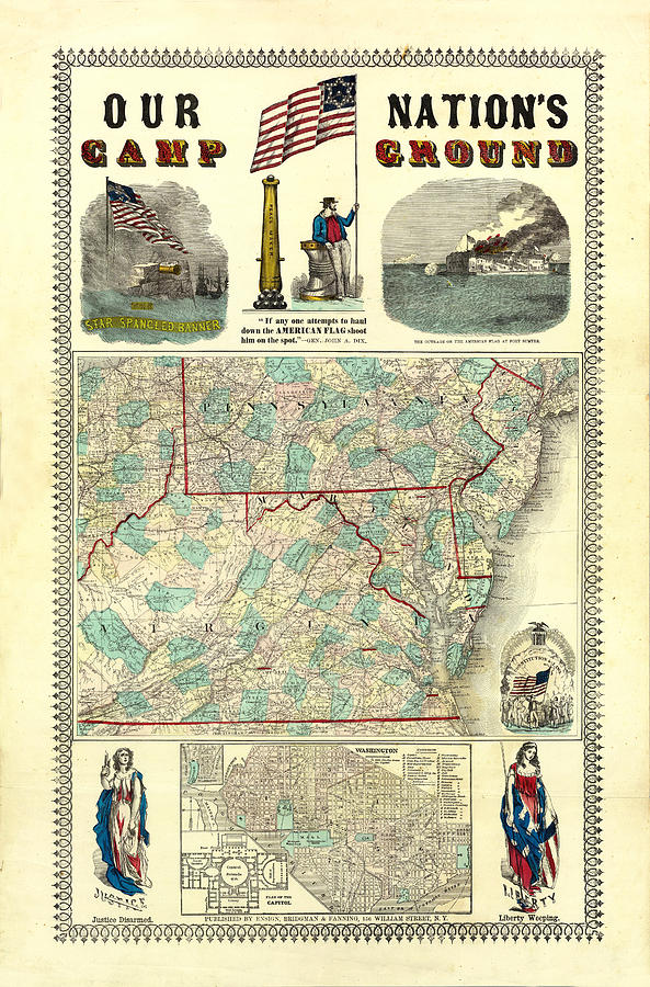 Vintage Map of Pennsylvania State by Peggy Collins