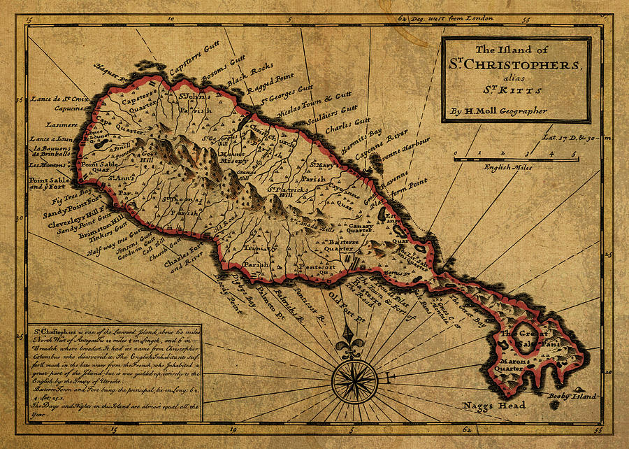 Vintage Map Of St Kitts 1736 Mixed Media by Design Turnpike
