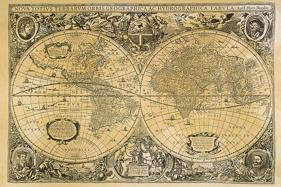 Vintage Map Of The World Digital Art by Comstock