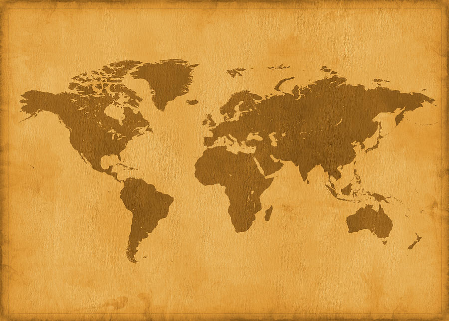 Vintage Map Of The World In Brown Photograph by Yorkfoto