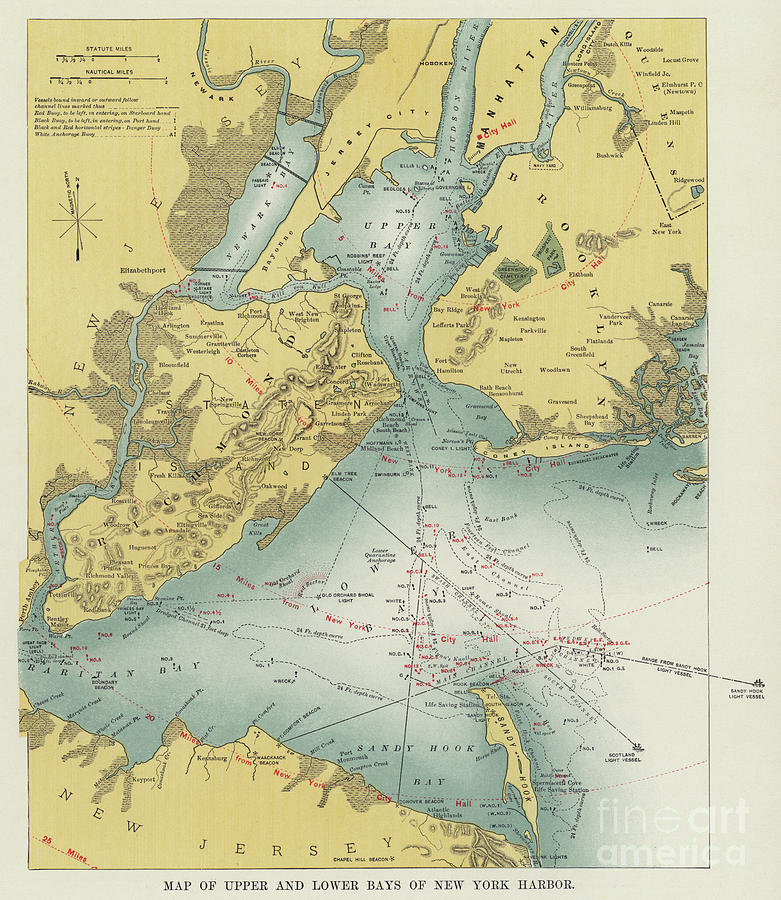 Vintage Map Of Upper And Lower Bays Of New York Harbor on liberty island map, colonial new york state map, clayton new york map, statue of liberty map, new york water taxi map, long island school district map, bell harbor florida map, port chester new york map, mississippi river map, east new york map, east coast map, hempstead new york map, new york university map, hudson valley new york map, york harbor me map, erie canal map, new york lighthouses map, rivers in new york map, new york bay map, new york finger lakes map,