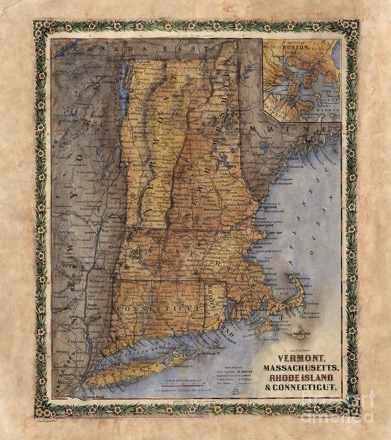 Middleton Fire Map.Vintage Map Vermont New Hampshire Maine Hand Painted Painting