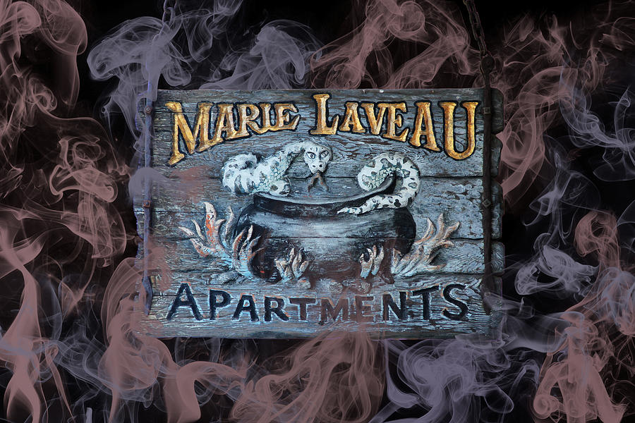 Vintage Marie Laveau Aparments Sign by Debi Dalio