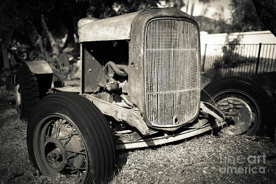 Tractor Photograph - Vintage Old Rusty Ford Farm Tractor Escondido by Edward Fielding