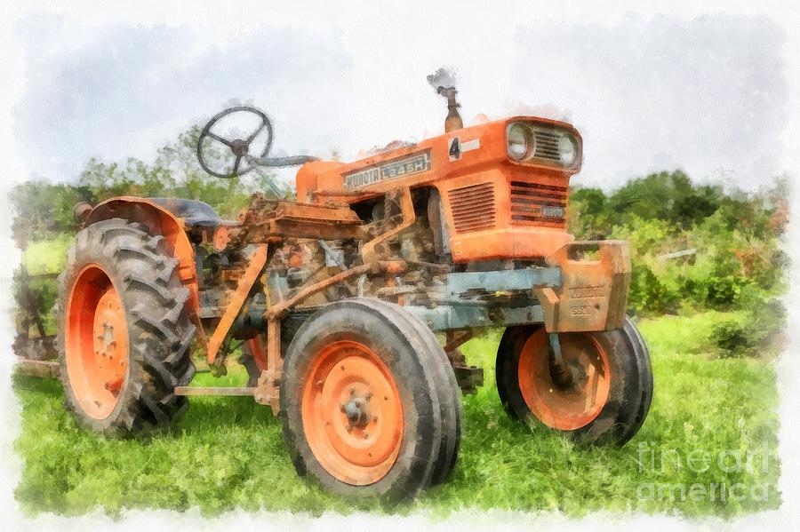 Watercolor Digital Art - Vintage Orange Farm Tractor In Vermont by Edward Fielding