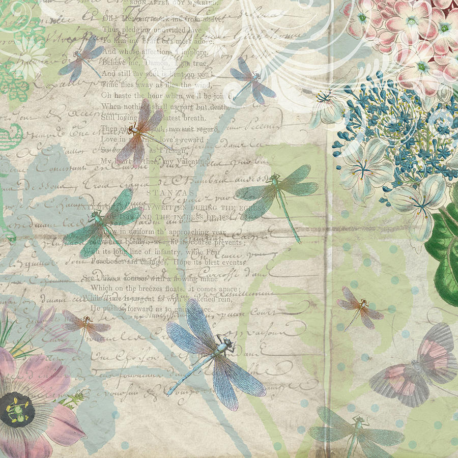 Vintage Pastel Dragonflies Botanical by Peggy Collins