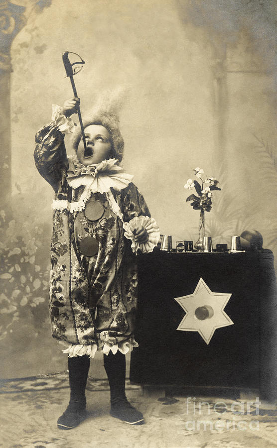 Magic Photograph - Vintage Photo Of Child Sword Swallower by Chippix