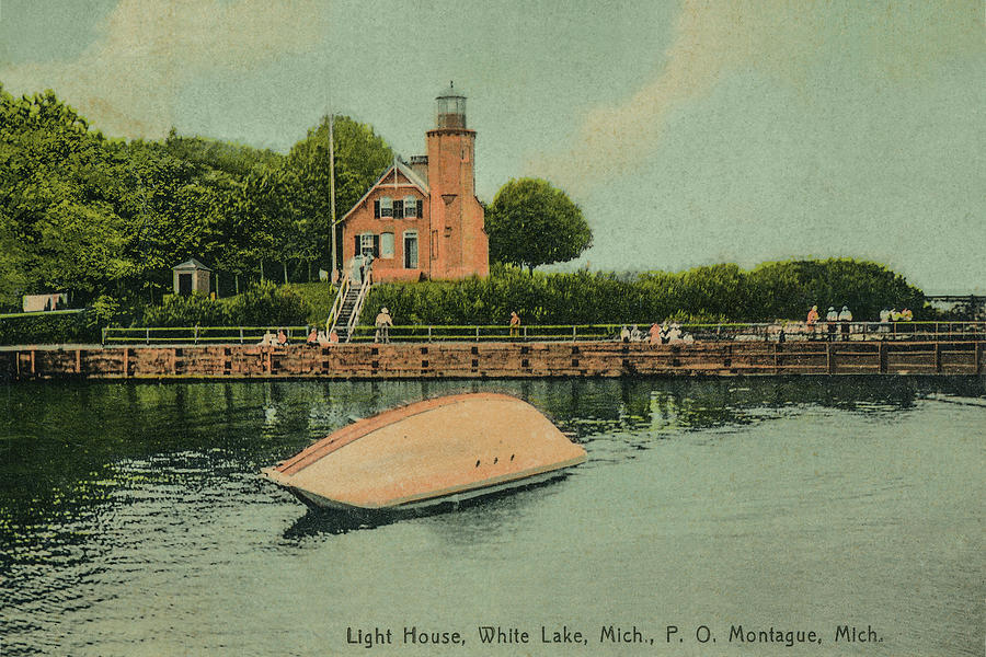 Vintage Post Card Photo circa 1910 of the White River Lighthouse by Randall Nyhof