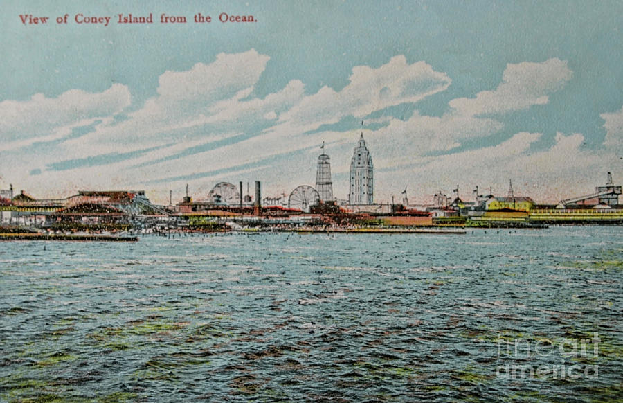 Vintage postcard with view on Coney Island by Patricia Hofmeester
