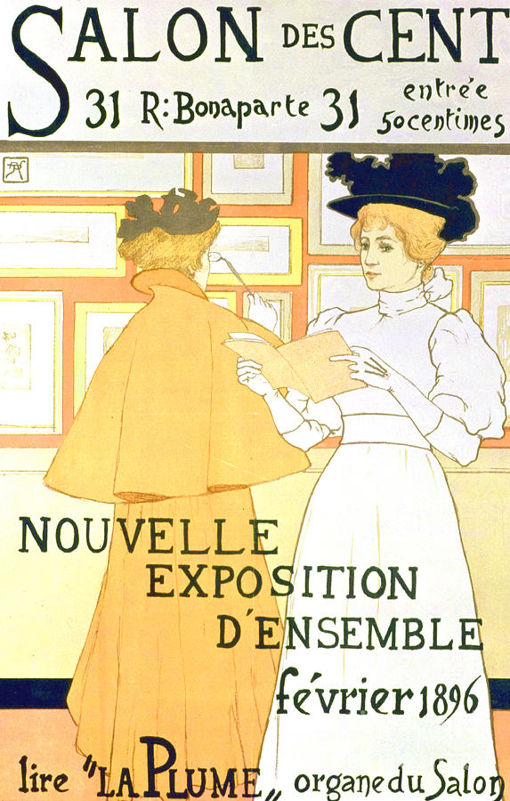 Salon Drawing - Vintage Poster Advertising A Exhibition At The Salon Des Cent, 1896  by Armand Rassenfosse