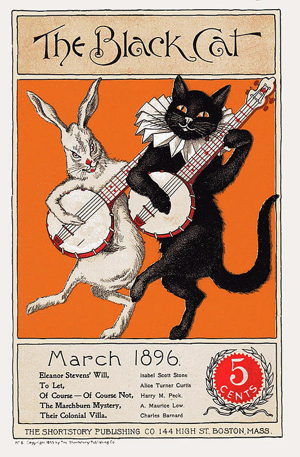 Vintage Poster Drawing - Vintage Poster, Black Cat Magazine Cover, Cat Wall Art  by Black Cat
