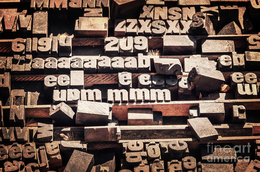 Letterpress Photograph - Vintage Printing Blocks by Delphimages Photo Creations