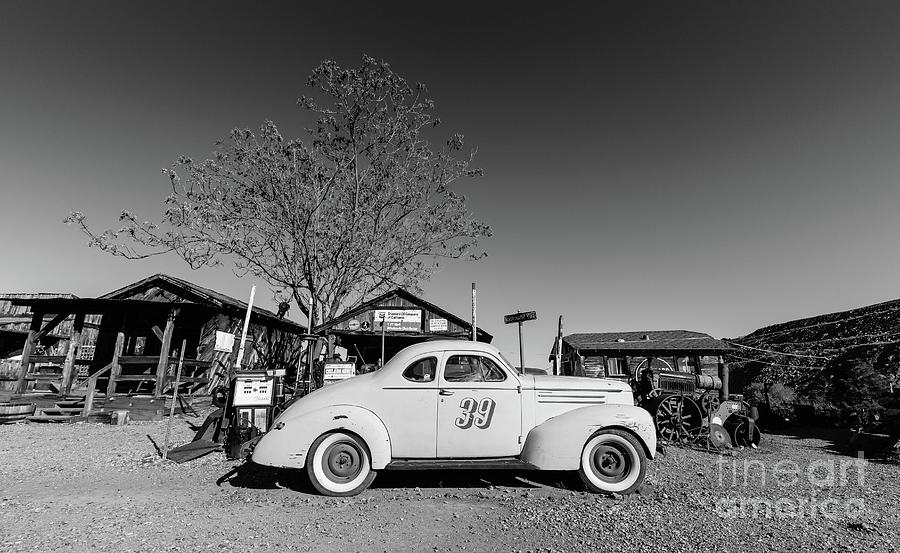 Race Photograph - Vintage Race Car Gold King Mine Ghost Town by Edward Fielding