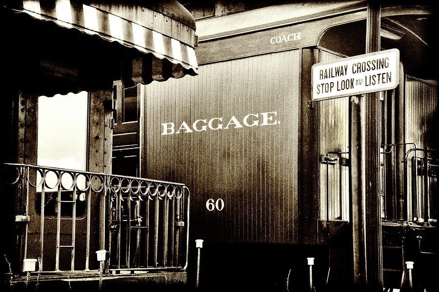 Vintage - Railroad Baggage Car - B W by Paul W Faust - Impressions of Light