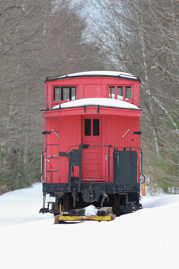 Train Photograph - Vintage Red Caboose In Winter by Edward Fielding