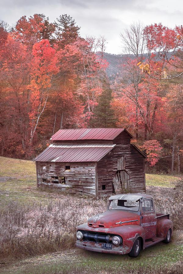 Vintage Red Ford Country Colors by Debra and Dave Vanderlaan