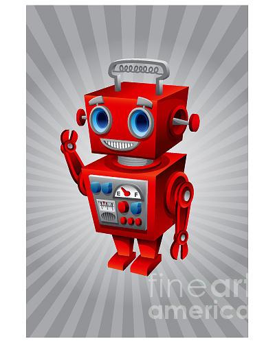 Red Digital Art - Vintage Robot by Scott Bartlett