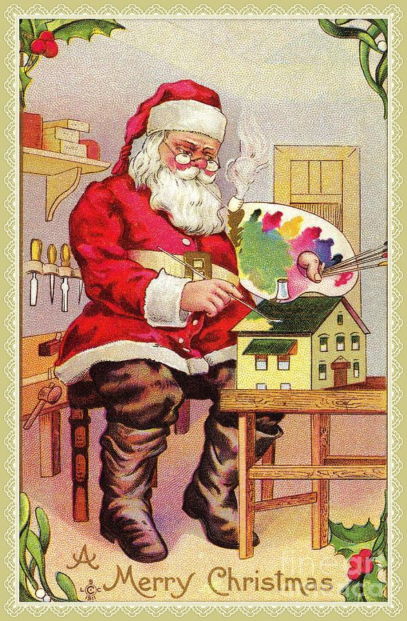 Vintage Santa painting toy house by Aapshop