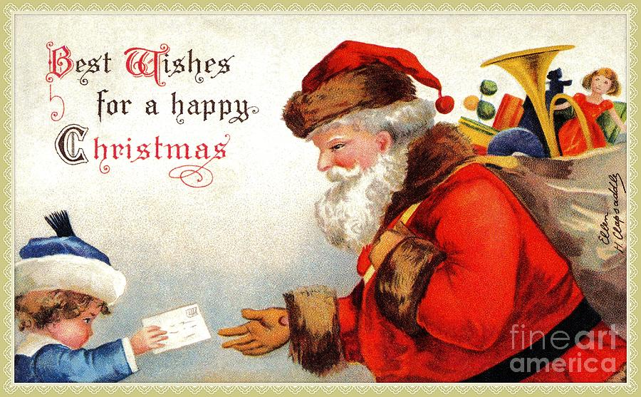 Vintage Santa with child and Christmas wishes by Aapshop