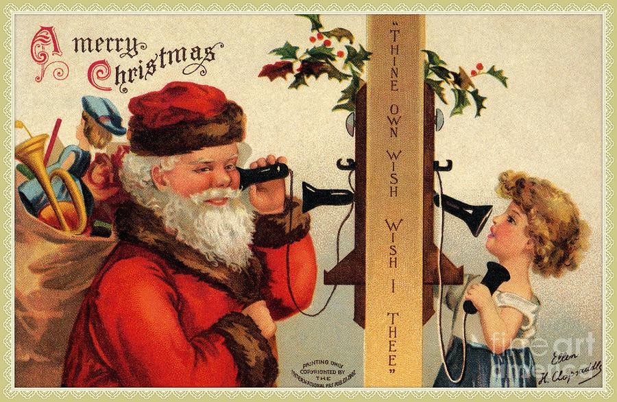 Vintage Santa with child and old telephone by Aapshop