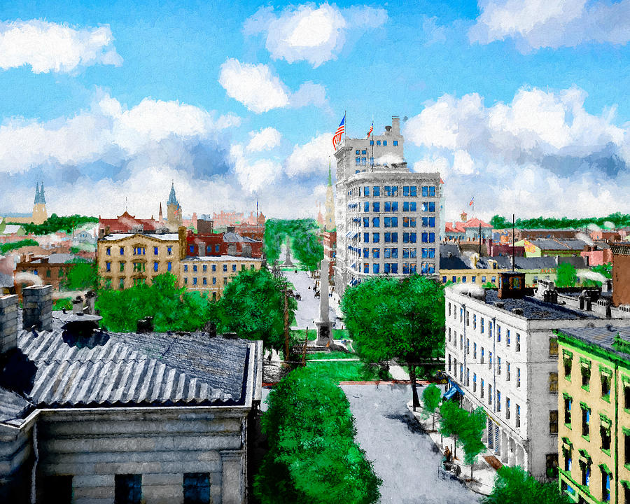 Savannah Digital Art - Vintage Savannah Georgia  View Over Johnson Square by Mark E Tisdale