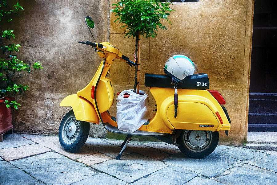 Vintage Scooter With a Small Tree Parked along a House, Pienza, by George Oze