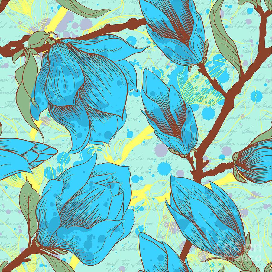 Blot Digital Art - Vintage Seamless Pattern With Magnolia by Elena Eskevich