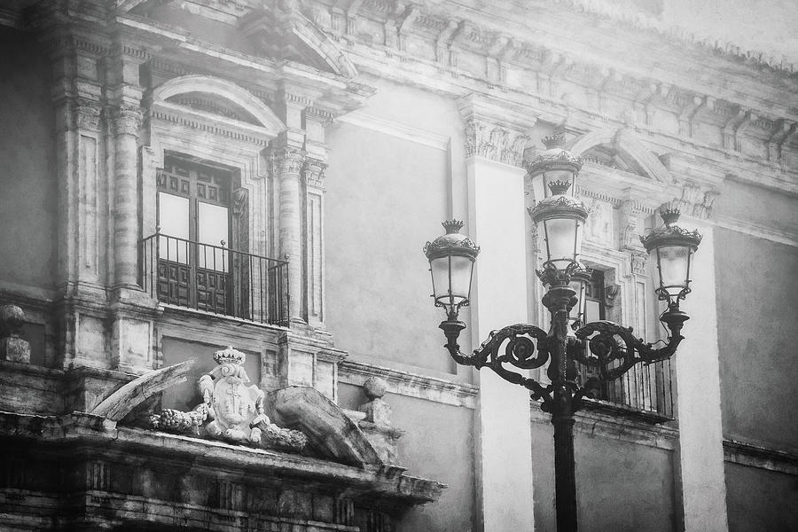 Vintage Street Lamps Of Valencia Spain Black And White Photograph