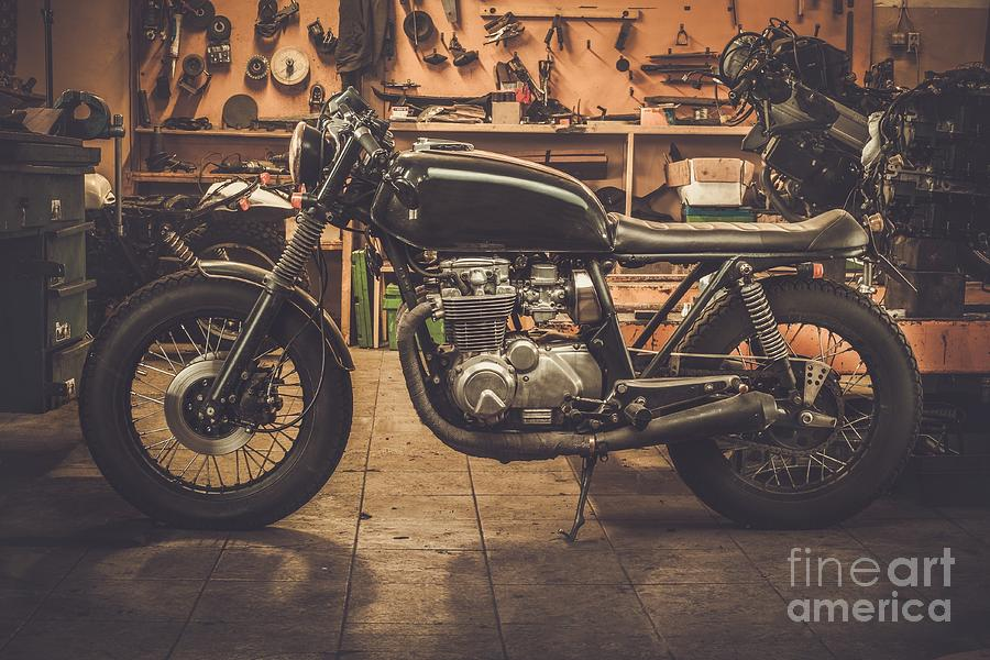 Motor Photograph - Vintage Style Cafe-racer Motorcycle In by Nejron Photo