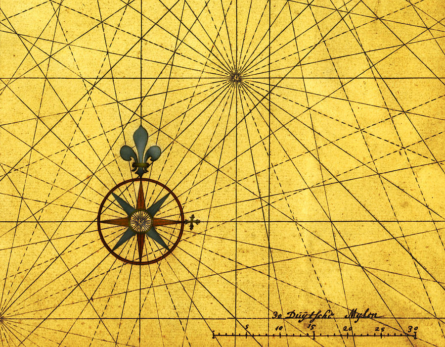 Vintage Style Design With Compass Rose Digital Art by Nicoolay