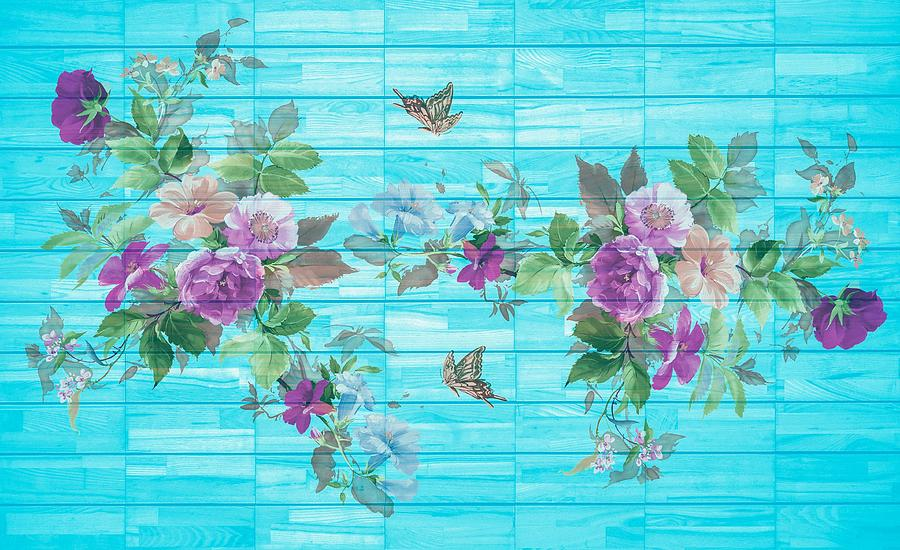 Vintage Style Shabby Chic Florals On Blue by Joy of Life Arts