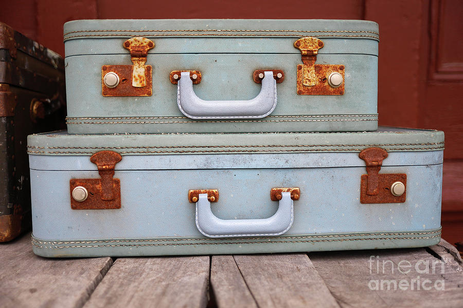 Travel Photograph - Vintage Suitcases 3 by Edward Fielding