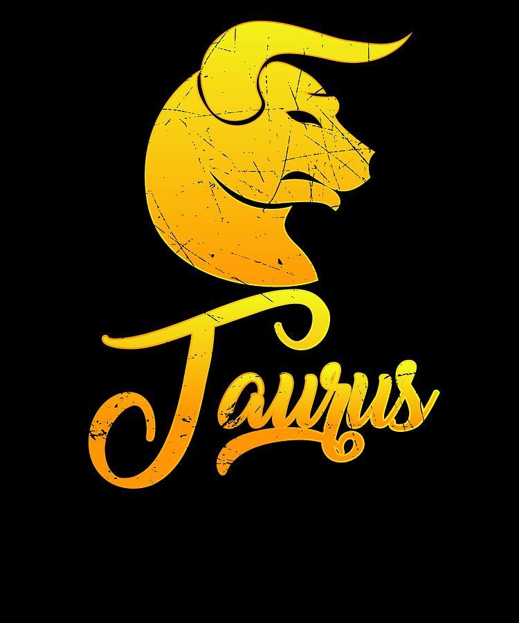 73126c66a Stars Digital Art - Vintage Taurus Zodiac Sign Graphic Retro Horoscope  Birthday Gift Idea by Orange