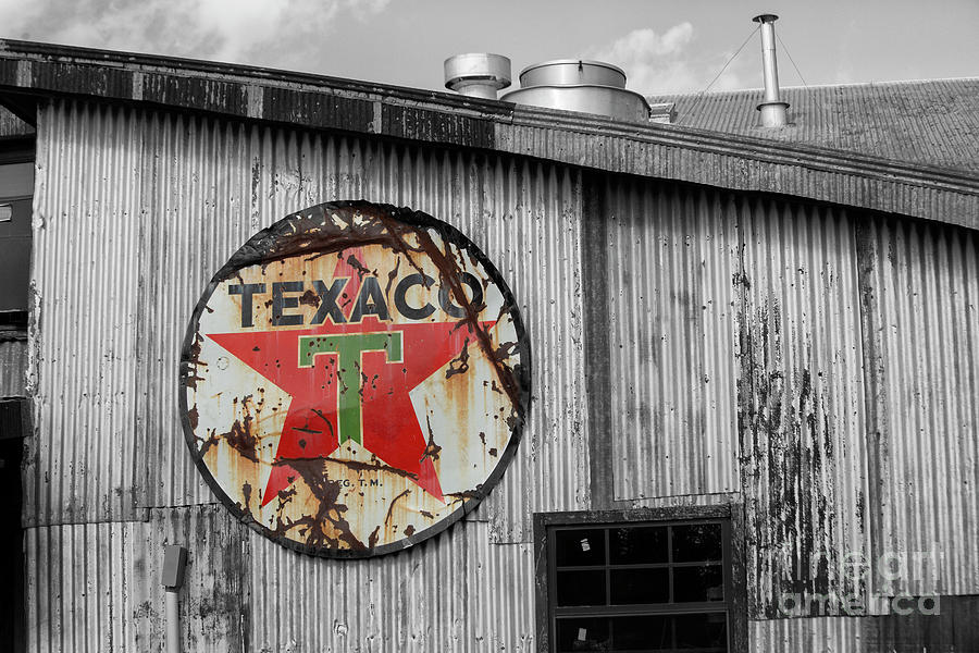 Vintage Texaco Sign On Old Building Photograph