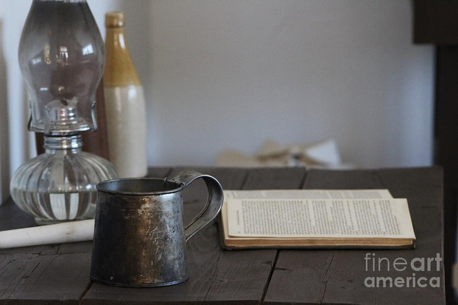 Tin Cup Photograph - Vintage Tin Cup and Book on Desk 2 by Colleen Cornelius
