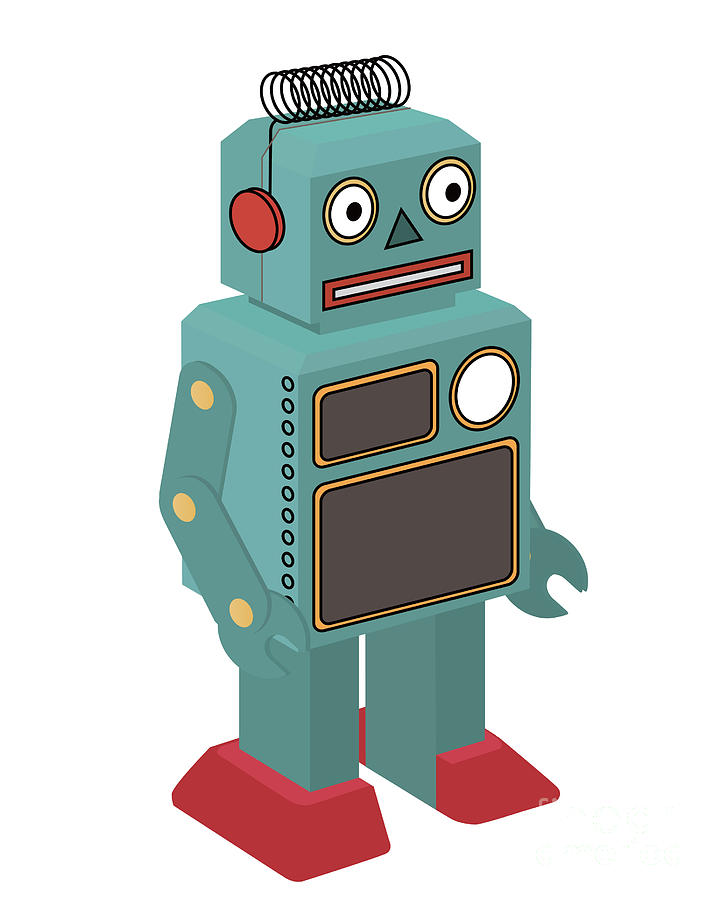 Play Digital Art - Vintage Toy Robot by Natt