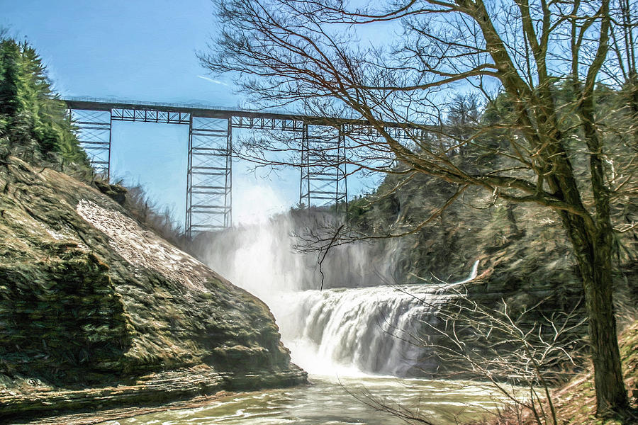 Waterfall Photograph - Vintage Train Trestle With Waterfalls by Chic Gallery Prints From Karen Szatkowski
