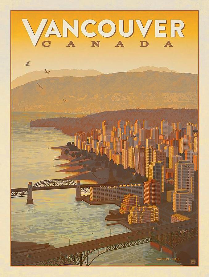 Vintage Vancouver Bc Canada Travel Poster Circa 1950 S Digital Art By Marlene Watson