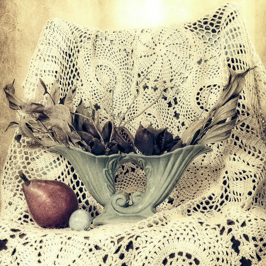 Vintage Vase and Lace by Sandra Selle Rodriguez