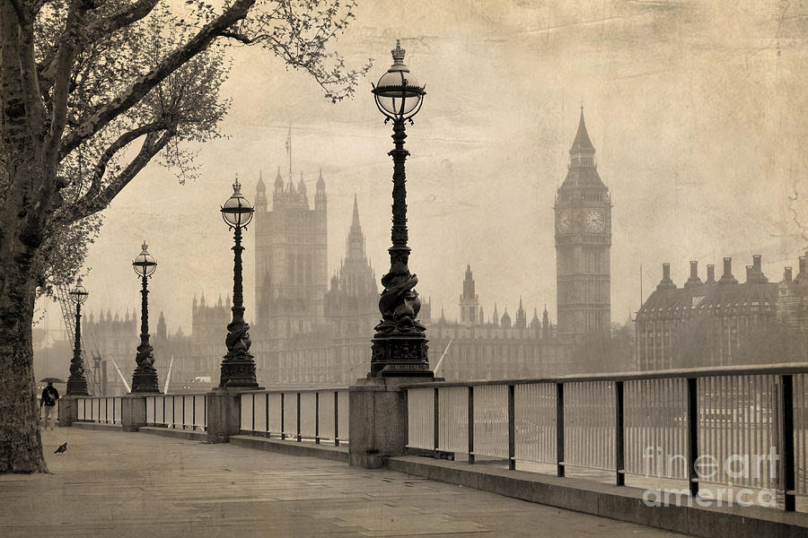 Big Photograph - Vintage View Of London,  Big Ben & by Tkemot