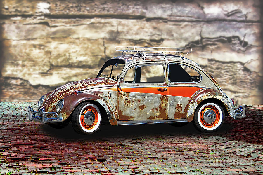 Vintage Volkswagen Beetle With Luggage Rack Photograph By Nick Gray