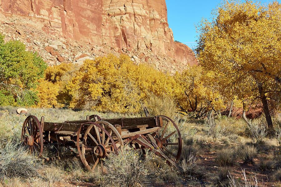 Rock Formation Photograph - Vintage Wagon by Paul Freidlund