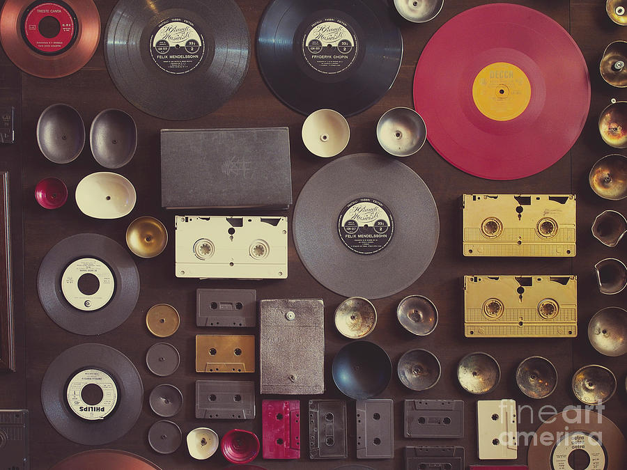 Vintage Wall With Vinyl Records And Audio Cassettes