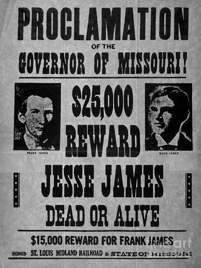 Jesse Drawing - Vintage Wanted Poster For The Arrest Of Jesse James by American School