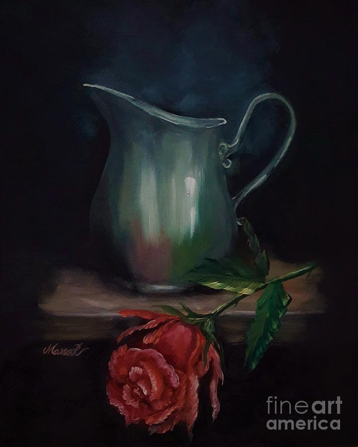 Oil Paints Painting - Vintage Water Pitcher and a Red Rose by Manar Hawsawi